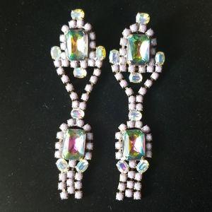 Vintage Czech Glass Crystal Rhinestone Earrings